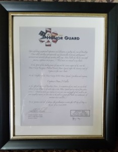 Dane County EMS Honor Guard Certificate